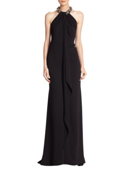 Carmen Marc Valvo - Jeweled Cascade-Front Crepe Gown
