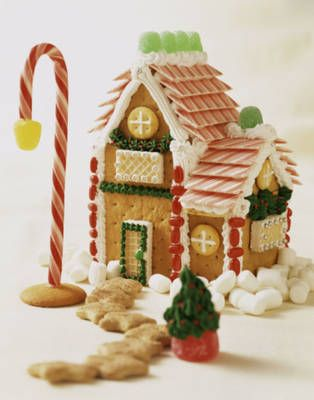red striped gum to make elegant and festive shingles for the roof and mini marshmallows to make snow drifts around the base of the house. I like the way the designer used a candy cane stuck into a vanilla wafer with a gumdrop on the end to make a streetlamp