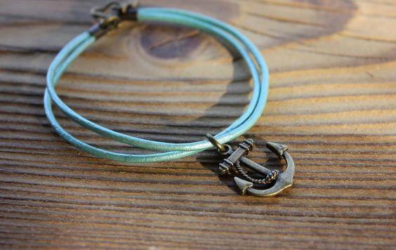 Armband metallic grün - Anker von Le petit bouton auf DaWanda.com