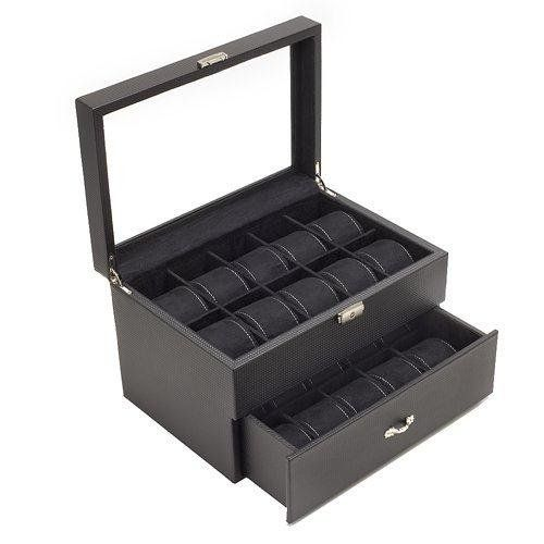 Carbon Fiber Pattern Watch Case Display with Glass Clear Top Storage Box Chest that Holds 20 Watches with Removable Pillows and High Clearan... >> $79.95