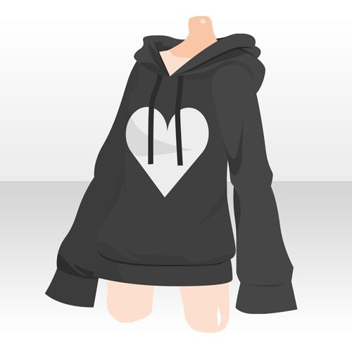 Black Heart Hoodie Outfit Reference Anime Outfits Drawing Anime Clothes Character Outfits