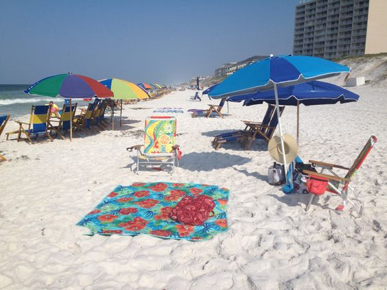 White sand and we stake our spot