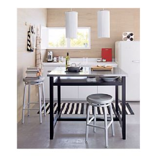 Crate And Barrel Belmont Table Crate and Barrel Belmont Black Work Table with Stainless Steel Top $ ...