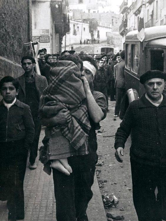 Spain - 1936. - GC - la ciudad de Barcelona intentó sobrevivir a tres días de intensos bombardeos,