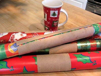 Papertowel rolls - split and use to keep wrapping paper from unraveling in the closet.  I need to do this!