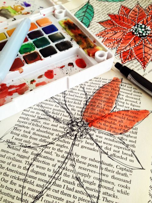 watercolor on book pages---Well...I personally couldn't stand to ruin a book. BUT, I would soooo photo copy a favorite book page---and paint!