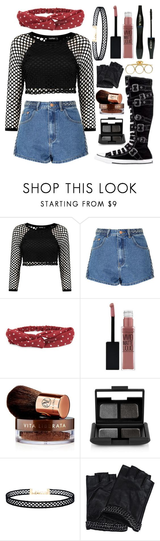 """""""❊Turn up the lights in here baby, extra bright I want y'all to see this"""" by nerd-ville ❤ liked on Polyvore featuring Glamorous, Converse, Aéropostale, Lancôme, Maybelline, Vita Liberata, NARS Cosmetics, LULUS, Karl Lagerfeld and Katie Rowland"""