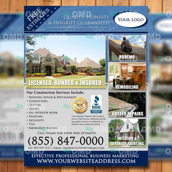 General Contracting Flyer Design Roofing By