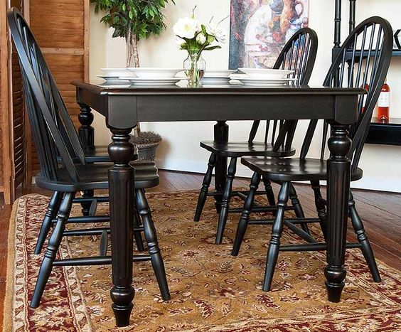 Dining Table Amp Windsor Chairs Set In Antique Black Finish