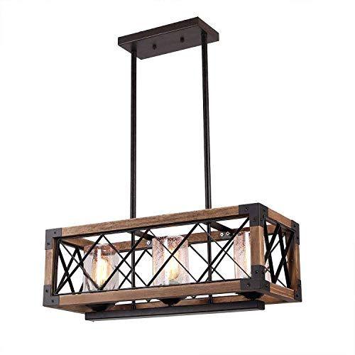 Giluta Kitchen Island Pendant Light Rectangle Wood Metal Https Www Amazon In 2020 Wood And Metal Chandelier Vintage Ceiling Light Fixtures Vintage Ceiling Lights