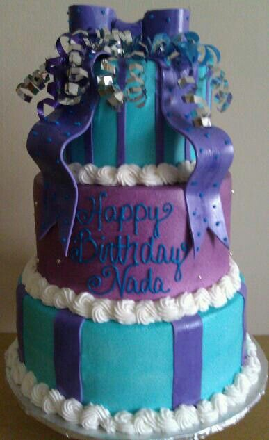 Purple And Turquoise Birthday Cake Cake Cake Cake Ideas