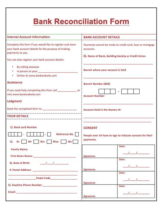 Printable Bank Reconciliation Form resumesdesign – Bank Reconciliation Forms