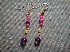 Purple  Pink Dangle Earrings