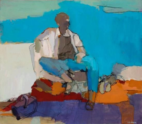 Gone Fishing by Liz Gribin, Acrylic, 32 x 36