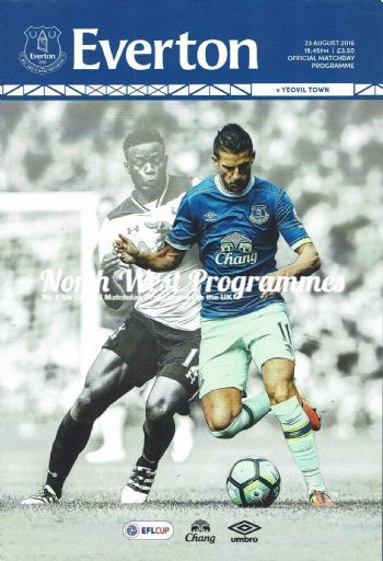 Everton v Yeovil Town EFL Cup 2nd Round 2016/2017 Official Match Programme 23rd…