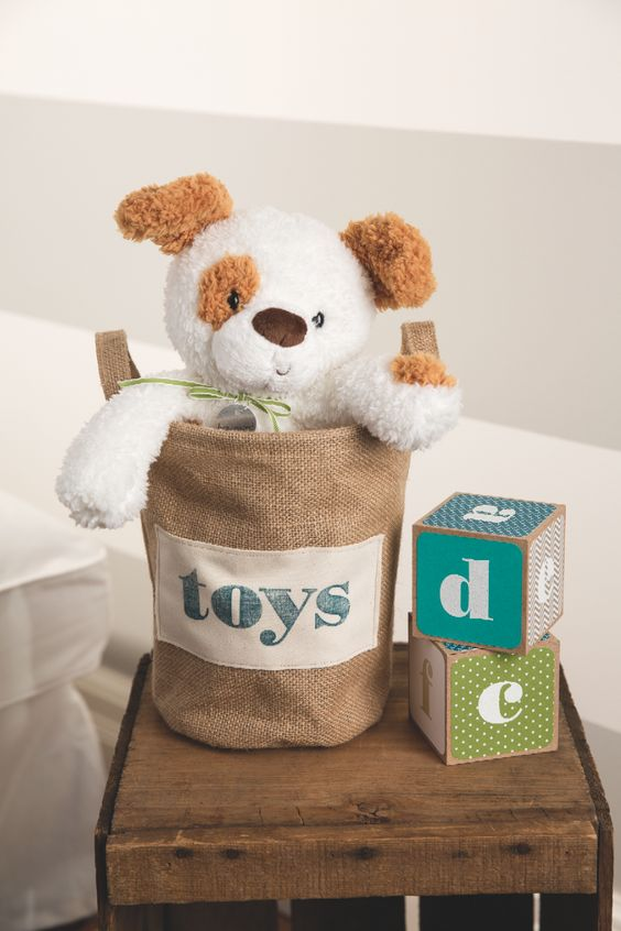 The Larger Than Life photopolymer alphabet stamp set was used to make this adorable toy bin and blocks.
