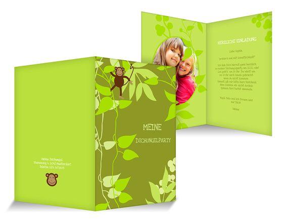 Dschungelparty Einladungskarten Kindergeburtstag