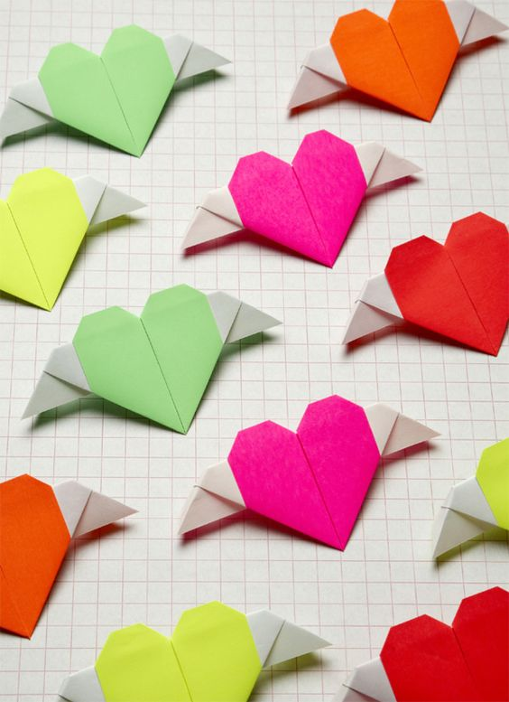 #DIY Origami Heart with wings: