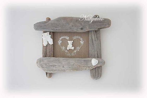 Cadre b b en bois flott cadres natydeco fait - Cadre en bois flotte decoration ...
