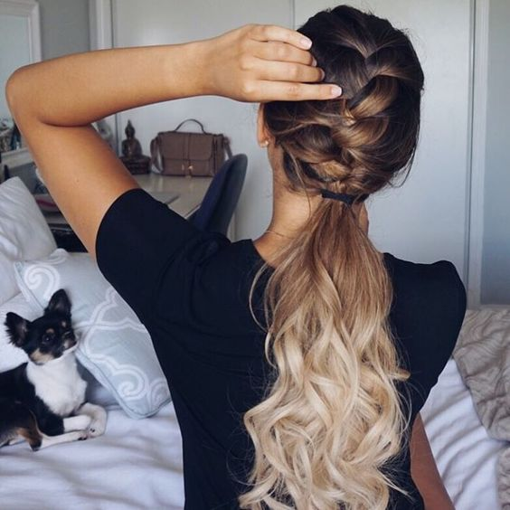Ashley Marie Bloomfield is styling and stunning in her ombre long locks. She takes the classic low ponytail to a new level with braids and cascading long curls!
