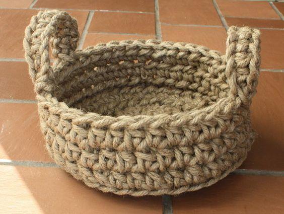 how to make rope baskets easy crochet rope basket pattern macrame jute various by dianasgrl. Black Bedroom Furniture Sets. Home Design Ideas