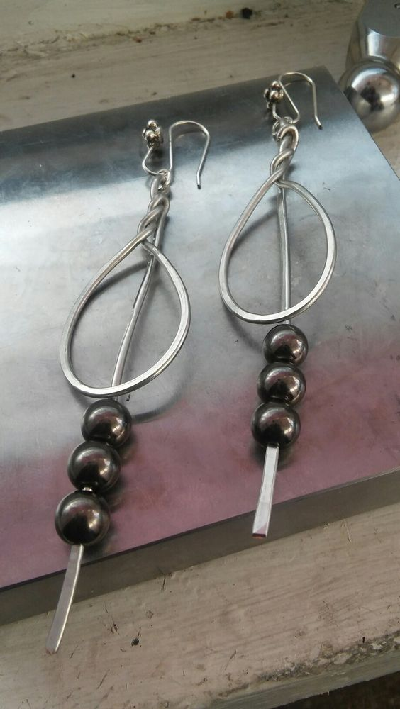 Hammered silver wire earrings/Beautiful handmade accessories/ Unique dangle earrings $20