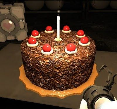 """A recipe for the Portal cake (""""The cake is a lie!"""") from the Geeky Chef."""