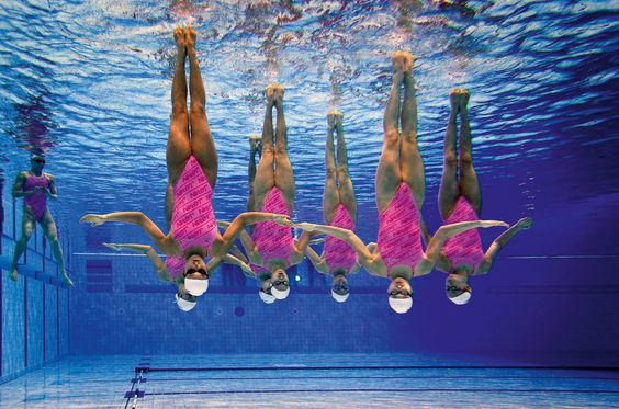 Japanisches Synchronschwimm-Team, Olympische Spiele, 2012, London, photo: Rob Schumacher