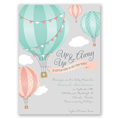 Up, Up \ Away - Petite Baby Shower Invitation Hot air balloons - baby shower invite template free