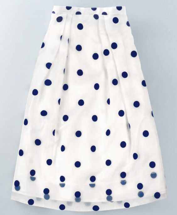 Retro Polka Dot Midi-Length Skirt