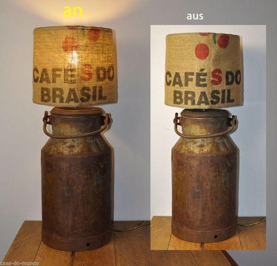 Kommoden Tischlampe Milchkanne Fabrik Style Industrie Look Kaffeesack Brasil