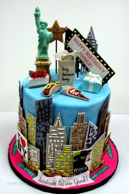 Incredible Birthday Cakes Manhattan New York City Custom Cakes Personalised Birthday Cards Akebfashionlily Jamesorg