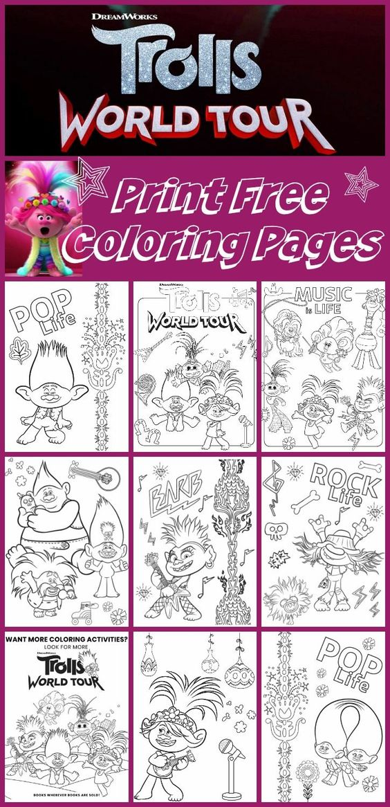 Free Printable Trolls World Tour Coloring Pages Party Ideas Any Tots In 2020 Free Printable Coloring Pages Free Printable Coloring Coloring Pages