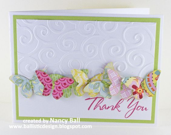 by Nancy Ball.  Butterfly card.  Inspiration for my sister's card wallet set.  I think the punch I used wasn't as nice as Nancy's butterlies.