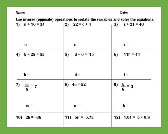 Solving One Step Equations Practice Worksheet One Step Equations Solving One Step Equations Equations