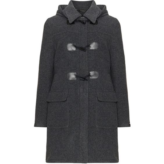 Steilmann Anthracite Plus Size Wool-blend duffle coat ($225) ❤ liked on Polyvore featuring outerwear, coats, anthracite, plus size, duffle coat, wool blend coat, toggle duffle coat, hooded toggle coat and plus size coats