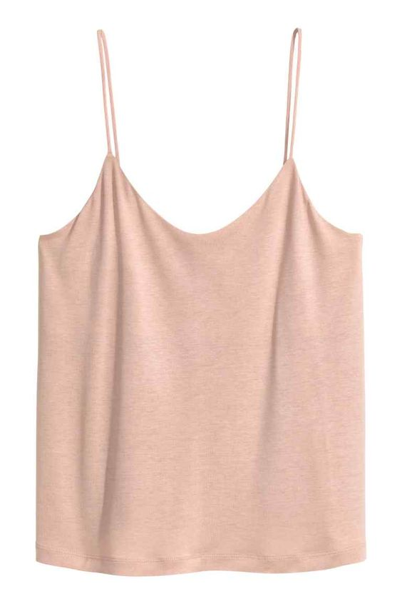 Strappy top: Viscose jersey top with narrow shoulder straps, a small V-neck and a lined bust.