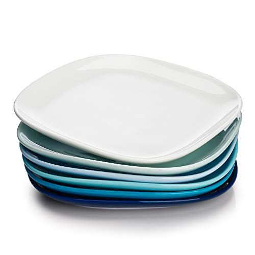Sweese 152 003 Porcelain Square Dinner Plates 10 Inch Set Of 6 Cool Assorted Colors All4hiking Com Dinner Plates Plates Square Plates