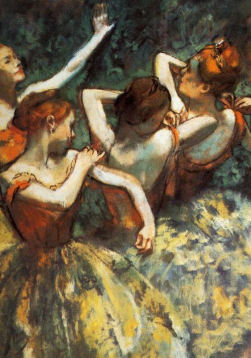 Four Dancers - En attendant l'entrée en scène detail, 1900    Edgar Degas