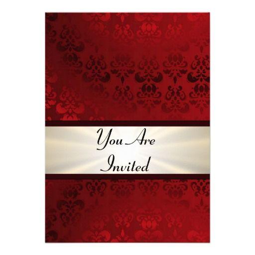 Rich dark red damask & gold invitation