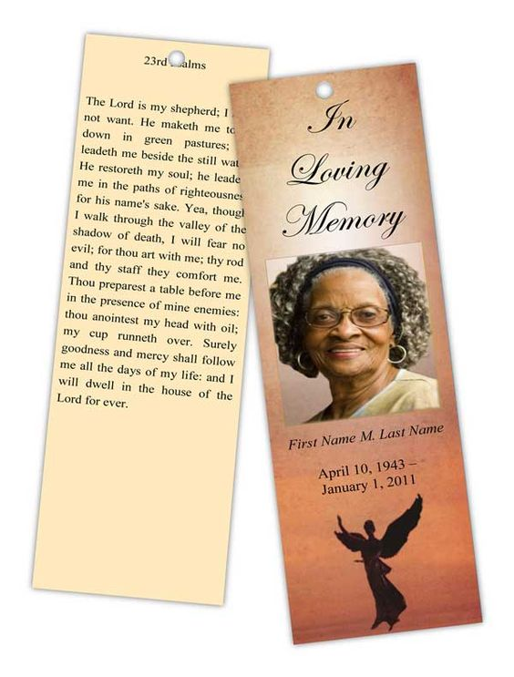 Beloved Angel Memorial Bookmark Template | Top Memorial Bookmark ...