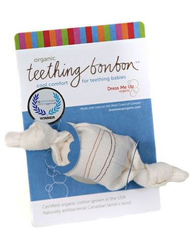 Country Drawers Store - Organic Teething Bonbon, $15.95 (http://www.countrydrawers.com/organic-teething-bonbon/)     1.Dip the ends in water.    2. Leave the centre stuffing dry.    3. Toss in the freezer 'till needed.