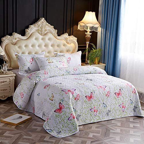 Lamejor Quilt Set With Shams Queen Size Comforter Set 3 Piece Butterfly Pattern As Bedspread Coverlet Bed Luxury Comforter Sets Coverlet Bedding Comforter Sets