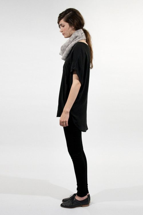 Black skinny jeans, black oversized tee shirt, black leather oxfords, gray infinity scarf: