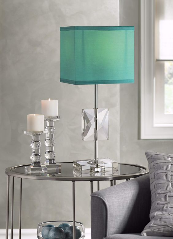Clara Donna Crystal Accent Teal Blue Table Lamp - #Y4766 | LampsPlus.com