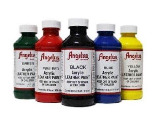 Angelus Brand Acrylic Leather Paint Waterproof All Colors 4 Fl Oz Leather Paint Painting Leather Leather Craft