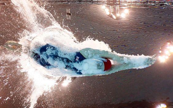 Britain's Rebecca Adlington starts in a women's 800-metre freestyle swimming heat at the Aquatics Centre so cool.