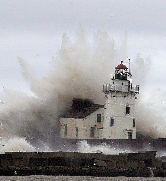 Lighthouse on Lake Erie, Hurricane Sandy, October 2012