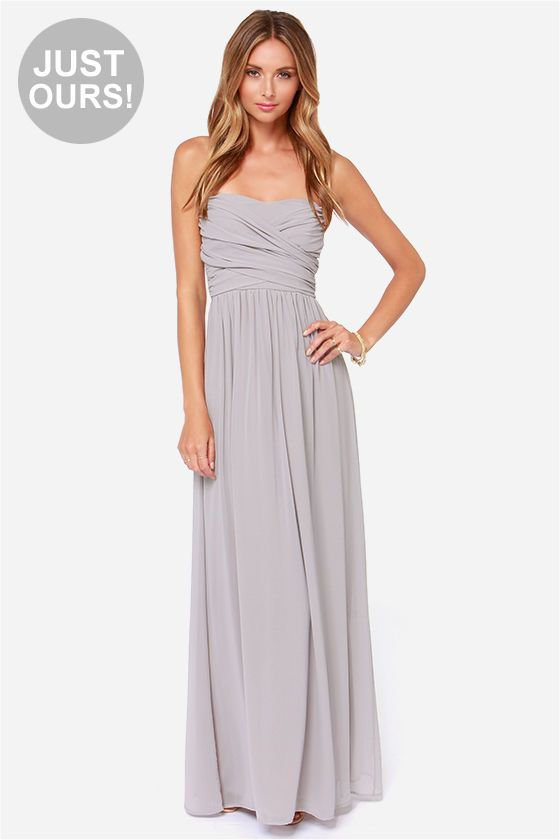 LULUS Exclusive Royal Engagement Strapless Light Grey Maxi Dress