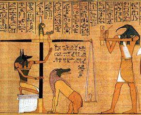 Détail d'illustration de jugement dernier sur papyrus d' Honefer